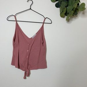 URBAN OUTFITTERS RIBBED TIE BUTTON TANK TOP